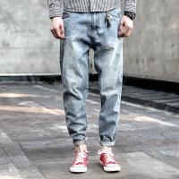 衣柜男装新款日系复古做旧立体裁剪小脚休闲牛仔裤男青年长裤