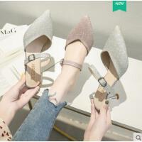 高跟拖鞋女凉拖鞋网红同款新款水钻性感凉鞋尖头细跟包头半拖单鞋