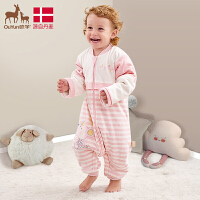 欧孕婴儿睡袋春秋薄款纯棉宝宝分腿儿童秋冬防踢被空调房四季通用