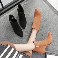 毅雅秋冬新款细跟性感尖头高跟踝靴磨砂舒适百搭侧拉链女短靴