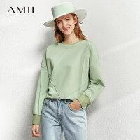 【到手价:112元】Amii慵懒风ins无帽白色卫衣女2020春新款宽松短款圆领套头上衣潮