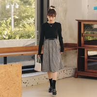 【品牌直降价:124元】拼接格子连衣裙2020年秋季新款女针织复古高腰宽松假两件中长裙子