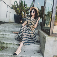2017夏季连衣裙女装雪纺韩版显瘦沙滩裙碎花短袖波西米亚长裙 绿色