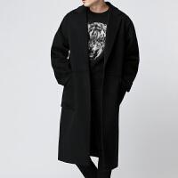 秋冬季新款男士中长款外套韩版宽松呢子大衣青年纯色毛呢外套 黑色 S(单里衬)