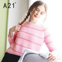 以纯A21少女条纹毛衣女针织衫女套头宽松百搭冬 女装甜美可爱短款线衫