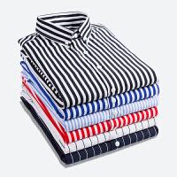 春季新款免烫长袖衬衫男商务时尚竖条纹纯色修身潮流男士大码衬衣