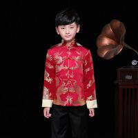 唐装民族风男童套装冬季厚款 儿童演出服男孩红色周岁礼服宝宝