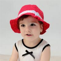 婴儿盆帽0-6月春夏女宝宝遮阳帽小樱桃凉帽