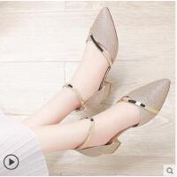 古奇天伦 新款春季单鞋中跟浅口女鞋尖头单鞋粗跟小清新高跟鞋CDE8726