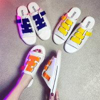 韩版糖果色平底拖鞋女 外穿白色一字凉拖女 时尚百搭沙滩拖鞋女撞色