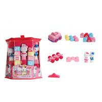KT猫卡罗兔大块塑料拼插积木3-6周岁女孩积木拼搭玩具 724积木车头不带声光63块