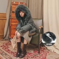 毛领短款羽绒服2019冬季新款女韩版宽松白鸭绒学生复古外套面包服