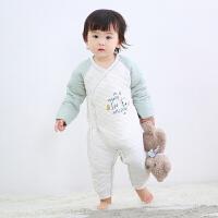 【3件3折后41.4】婴儿连体衣哈衣秋冬加棉内衣婴儿衣服0-9个月宝宝衣服
