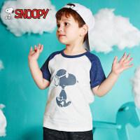 snoopy/史努比2018夏新款男女童装撞色纯棉卡通短袖T恤LSN8M503