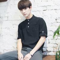 夏季立领中袖半截袖日系棉麻亚麻衬衫潮流男5五分袖七分袖T恤