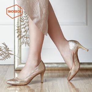 达芙妮旗下SHOEBOX/鞋柜单鞋女甜美网纱浅口套脚尖头高跟鞋