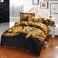 【包邮】伊迪梦家纺 全活性3D油画四件套 全棉斜纹高支高密面料 纯棉床上用品虎狮豹系列KH201