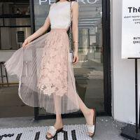 时尚半身中长裙18新款高腰蕾丝镂空花朵百褶裙a字网纱裙仙