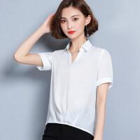 夏季雪纺衫短袖女2018新款韩版衬衣百搭衬衫上衣休闲衬衣打底小衫