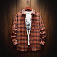 格子男衬衫长袖秋季薄款韩版潮流帅气休闲衬衣男装寸衣外套上衣