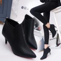 欧美风秋冬新款高跟短靴女细跟尖头女靴短筒靴及踝靴性感马丁靴潮