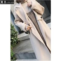 秋冬新款双面呢羊毛大衣女中长款毛呢外套+背心a字裙短裙子套装