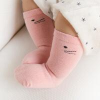 婴儿袜子秋冬纯棉长筒袜宝宝无骨松口高筒袜0-1-3岁