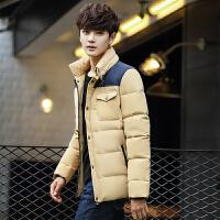 新款男士冬季中长款羽绒服潮男韩版修身加厚青年学生男装立领外套