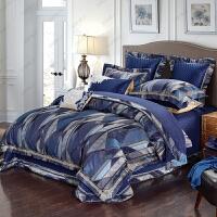 家�床上四件套�W式�r尚�W美�L地中海��s深色全棉床上用品��