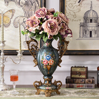 美式手绘花瓶摆设 落地仿真花陶瓷套装 摆件瓶家居饰品客厅