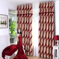 欧式提花隔热全遮光布料客厅卧室阳台定制窗帘成品