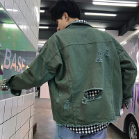 韩版春季新款纯色破洞男士牛仔外套bf风休闲短款夹克上衣