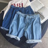 夏季牛仔短裤潮五分裤子中裤青年宽松直筒薄款男士牛仔裤