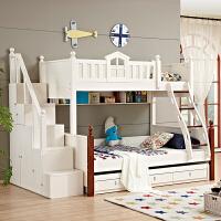 尚满 儿童床上下床 子母双层床 男孩女孩高低床 白色1.2\1.35\1.5米梯柜收纳床