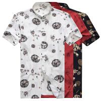 中年男装夏季唐装全棉短袖印花上衣中国风汉服中老年人爸爸装夏装
