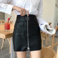 春季女装新款韩版气质包臀短裙PU皮裙学生大口袋一片式A字半身裙