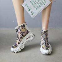 夏季新款韩版学生百搭厚底增高嘻哈涂鸦休闲女鞋高帮运动鞋女