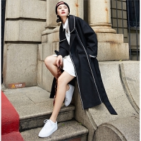黑色羊毛呢大衣女冬新款复古中长款撞色大翻领插肩袖宽松呢子外套 黑色