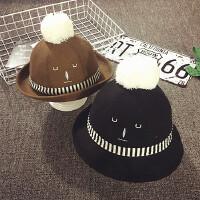 儿童渔夫帽男童帽秋冬保暖卷边小礼帽毛呢盆帽女宝宝帽子潮婴儿帽