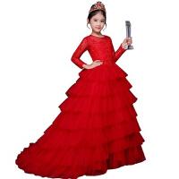 儿童礼服钢琴演出主持女童走秀晚礼服长袖公主婚纱拖尾蓬蓬裙红色 红色