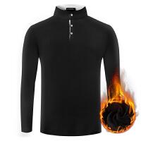 秋冬季带绒男衫男士长袖T恤�B加绒高领小衫加厚保暖冬装上衣服土 X