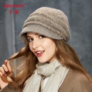 卡蒙蓓蕾帽加绒贝雷帽子女秋冬季韩版后托堆堆帽百搭英伦针织帽2618