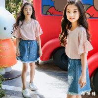 女童套装夏装2018新款 韩版时尚休闲中大童牛仔短裙短袖t恤两件套