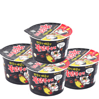 韩国进口方便面 三养超辣火鸡面拌面桶装105g*4 速食泡拉面煮面条