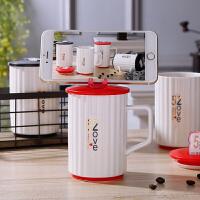 泰蜜熊创意马克杯带盖勺潮流个性杯子女陶瓷北欧水杯家用牛奶咖啡杯子