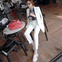 韩国时尚秋冬气质职业百搭小西装女外套套装休闲长裤两件套