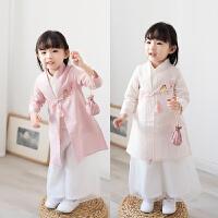 儿童唐装女宝宝汉服套装国学服装女童中式复古中国风童装