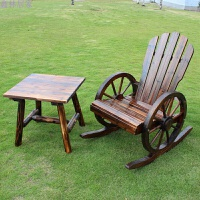 户外家具全实木炭化庭院阳台休闲车轮款桌椅摇椅躺椅