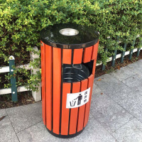 户外垃圾桶果皮箱单桶 室外分类垃圾桶木质 钢木垃圾桶环卫 圆桶