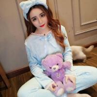 2017新款韩版时尚蕾丝花边女甜美可爱法兰绒保暖家居服套装三件套